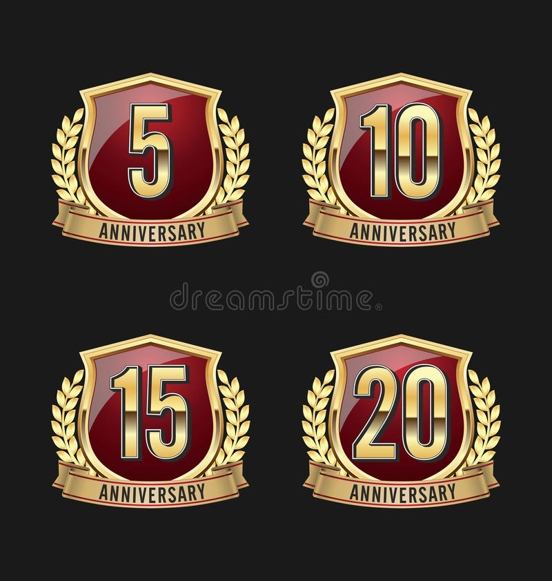 Jahrestags-Ausweis-Gold und Rot 5., 10., 15., 20. Jahre vektor abbildung