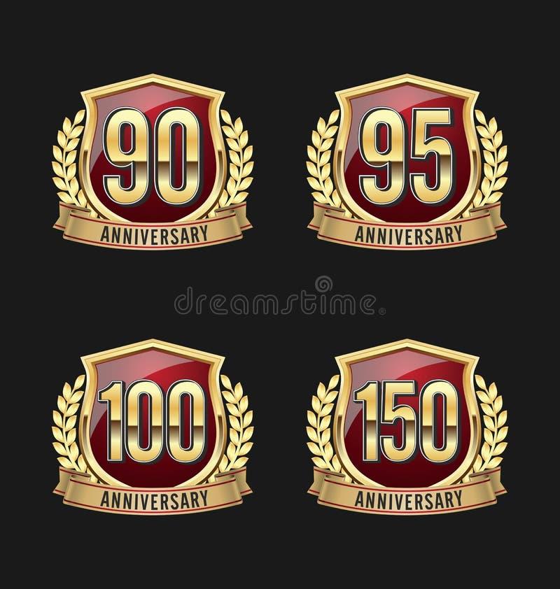 Jahrestags-Ausweis-Gold und Rot 90., 95., 100., 150. Jahre vektor abbildung