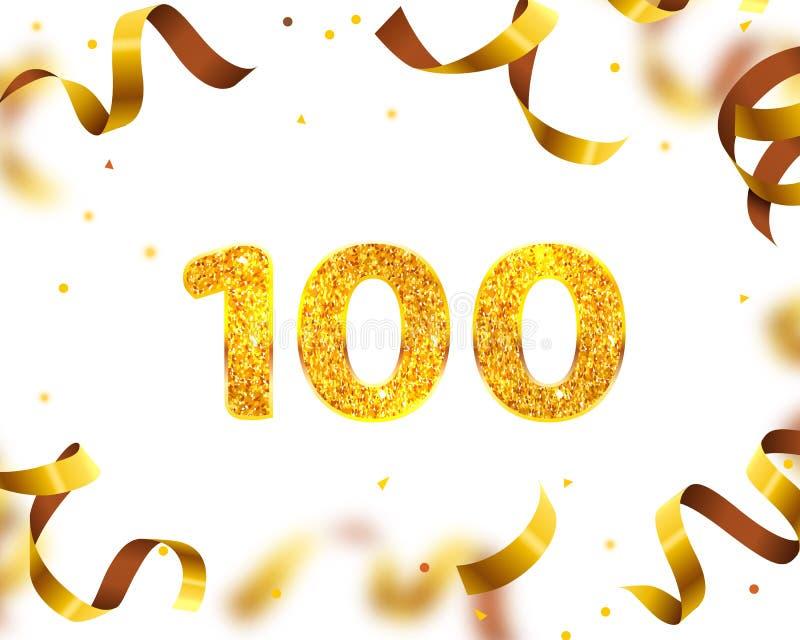 Jahrestags-Fahne 100., Goldband-Fliege Vektor stock abbildung