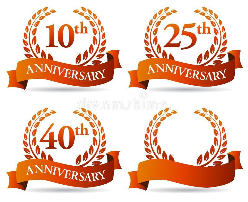 Jahrestags-Fahnen-Kranz vektor abbildung