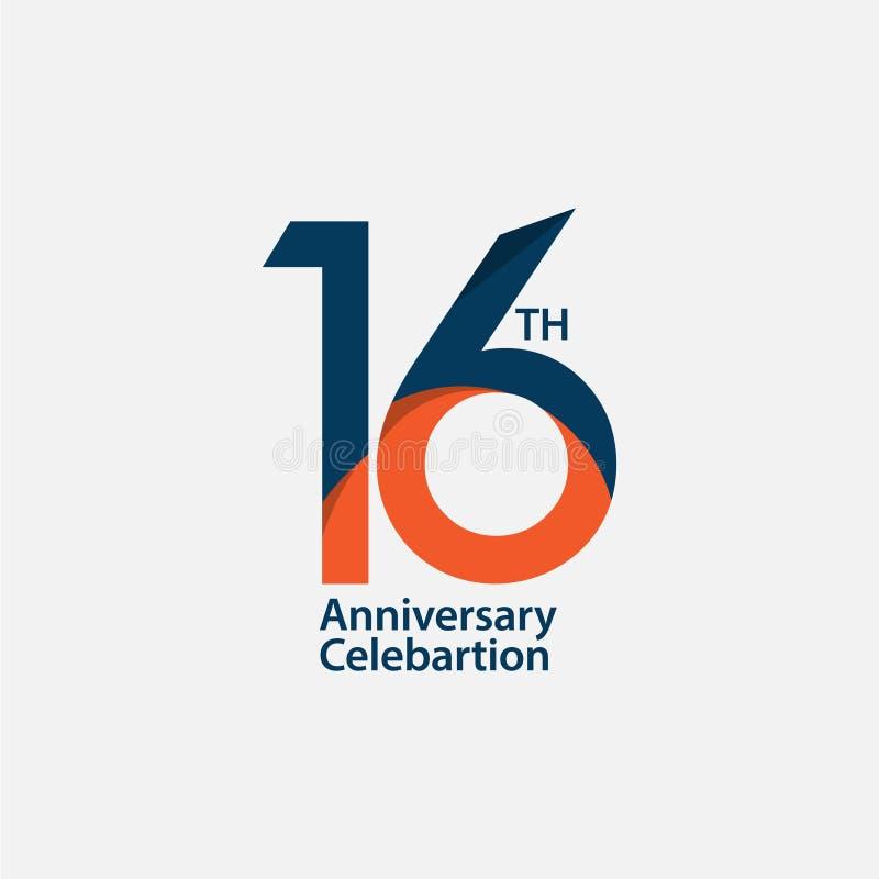 16. Jahrestags-Feier-Vektor-Schablonen-Entwurfs-Illustration vektor abbildung