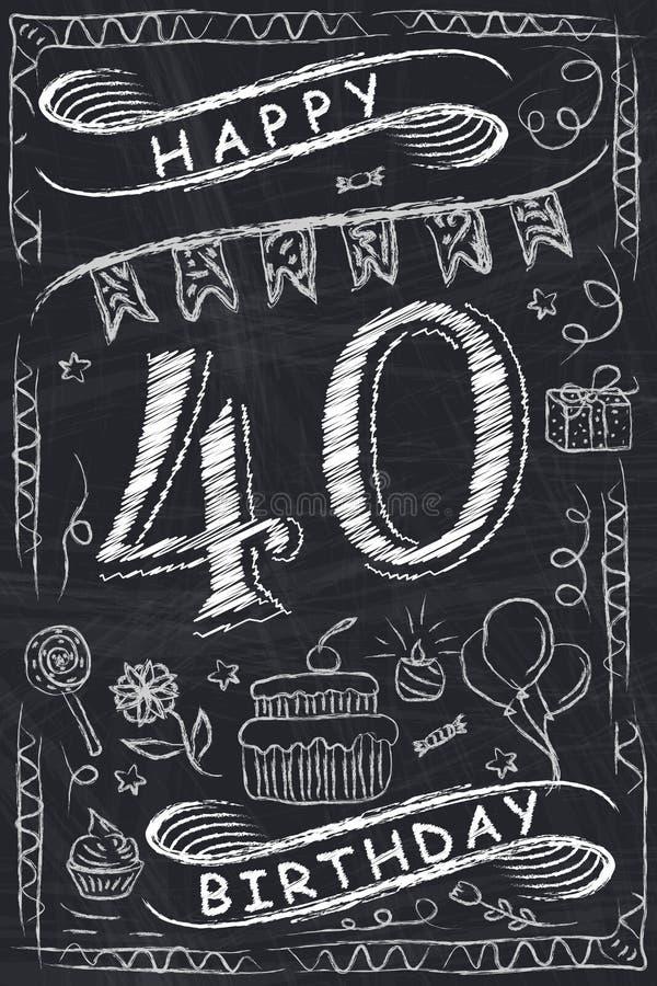 Jahrestags-glückliches Glückwunschkarte-Design auf Tafel lizenzfreie abbildung