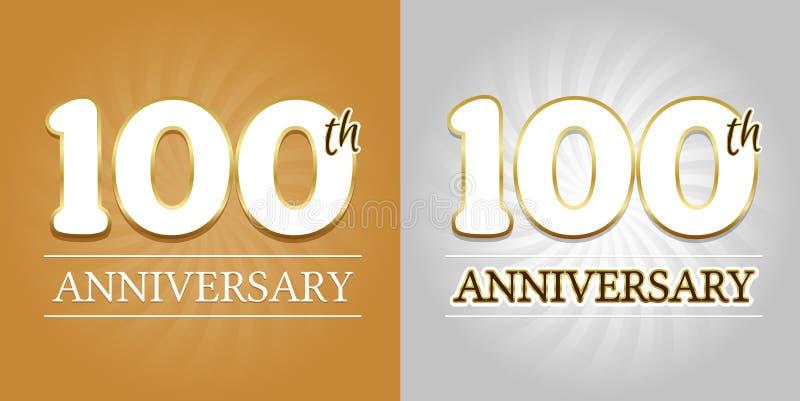 100. Jahrestags-Hintergrund - 100 Jahre Feier-Gold und Silber vektor abbildung