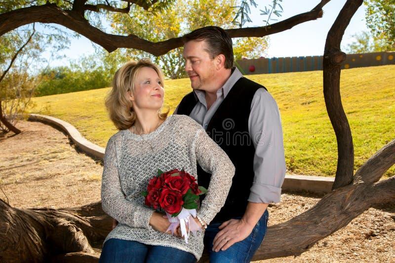 Jahrestags-Paare, die einander anstarren lizenzfreie stockbilder