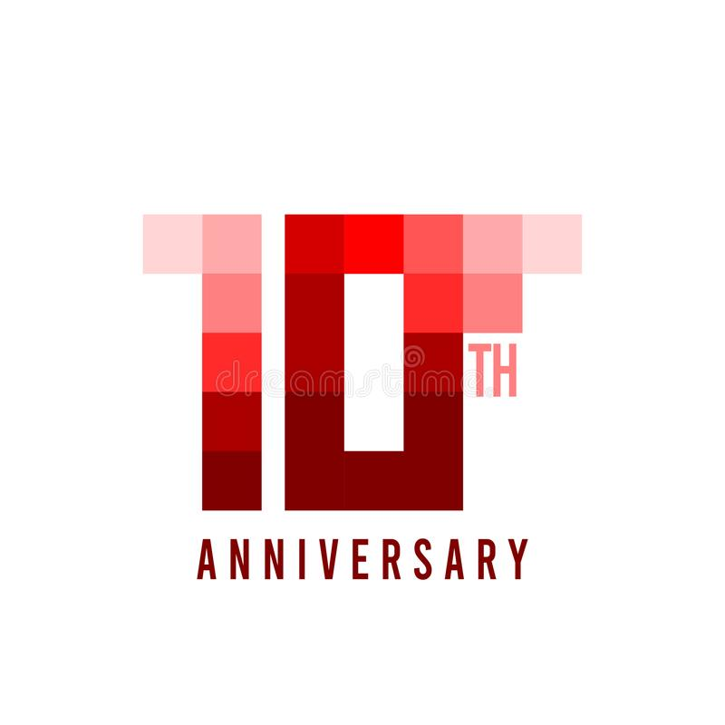 10. Jahrestags-Pixel-Modell-Vector Template Design-Illustration lizenzfreie abbildung