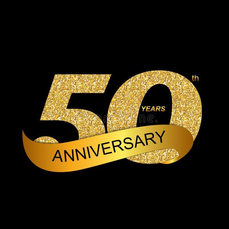 Jahrestags-Vektor-Illustration EPS10 des Schablonen-Logo-50. lizenzfreie abbildung