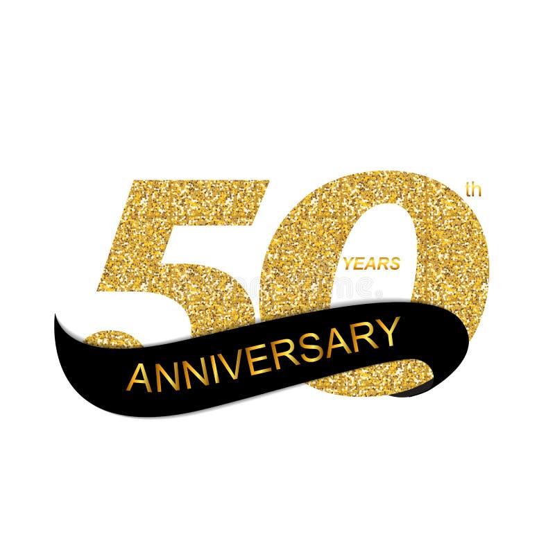 Jahrestags-Vektor-Illustration EPS10 des Schablonen-Logo-50. vektor abbildung