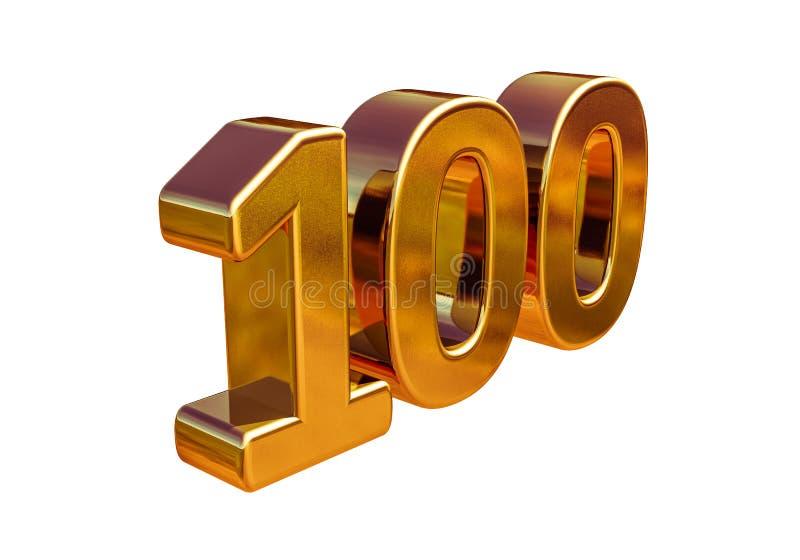 Jahrestags-Zeichen des Gold3d 100. Top 100 vektor abbildung