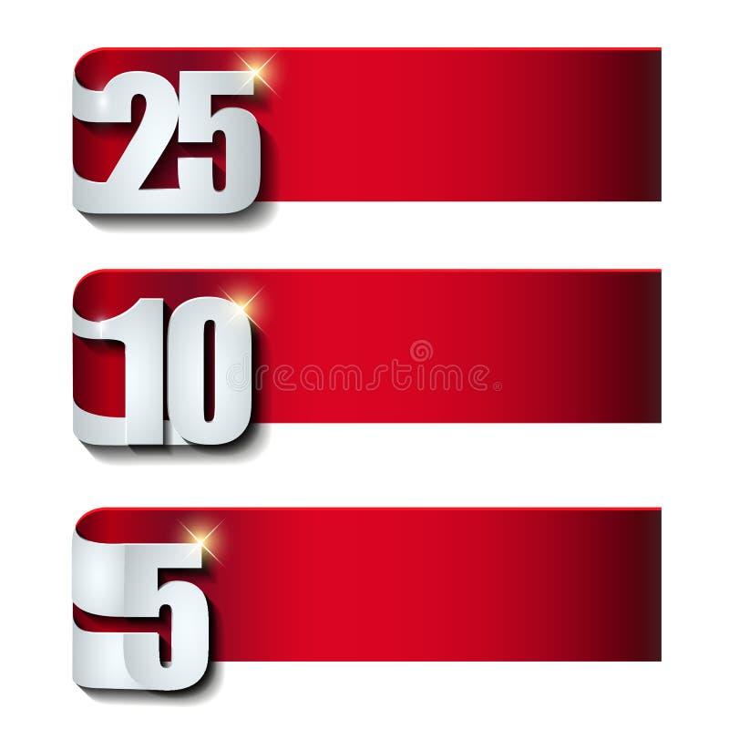 Jahrestagsfahnensammlung mit Zahl des Effektes 3d lokalisiert auf weißer Hintergrundschablone stock abbildung