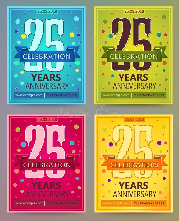 Jahrestagsflieger oder Einladungsvektorschablonen 25 Fünfundzwanzig Jahre vektor abbildung