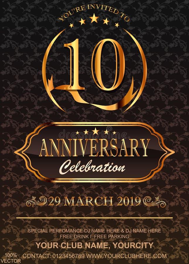 10 Jahrestagsgoldzahlen auf Blumenmusterhintergrund Jahrestagsereignis-Parteischablone der Feier 10. vektor abbildung