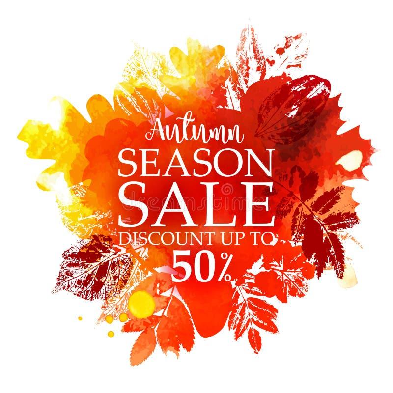 Jahreszeit-Verkauf mit Stempelblättern stock abbildung