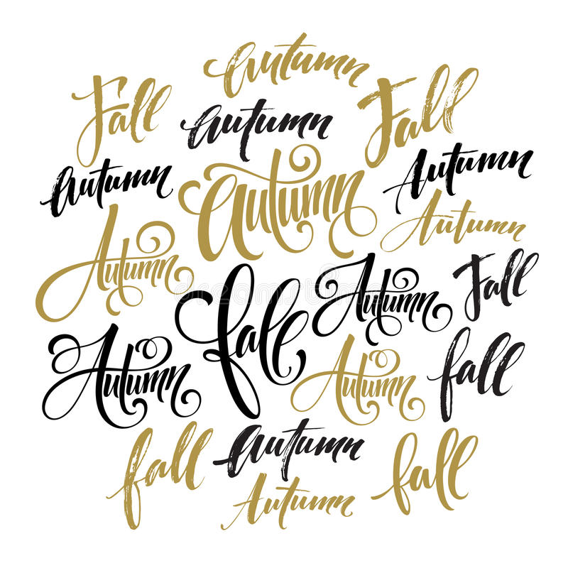 Jahreszeitartbeschriftung Kalligraphiegrafikdesignelement Fall, Herbstsatz Auch im corel abgehobenen Betrag vektor abbildung