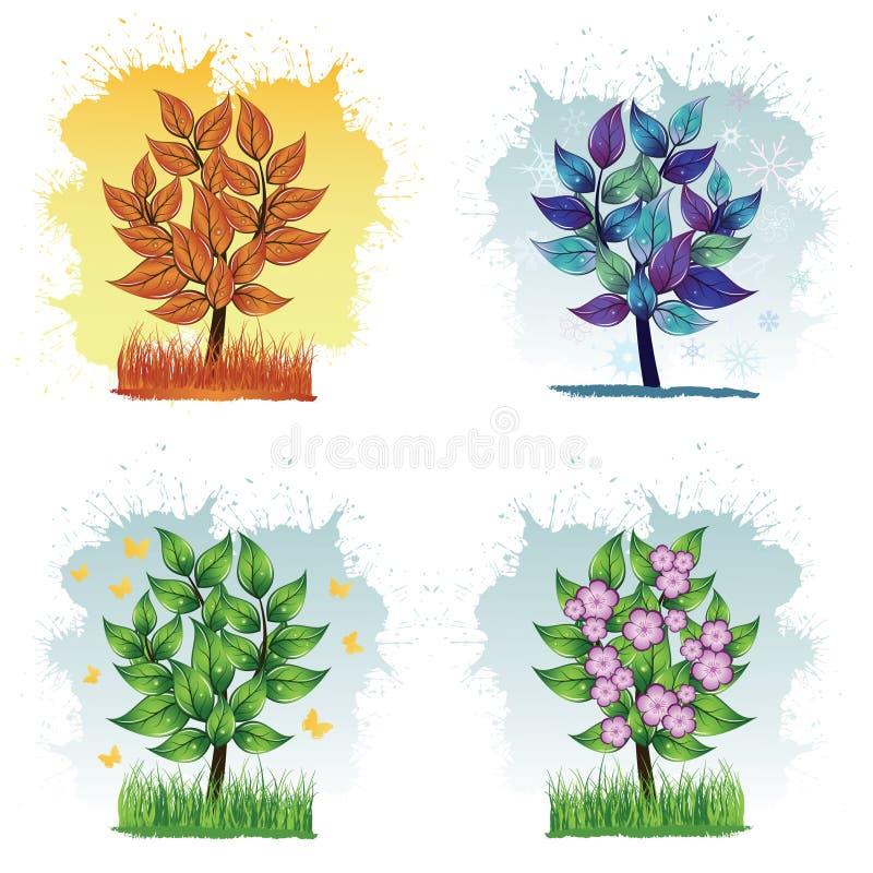 Jahreszeitbäume vektor abbildung