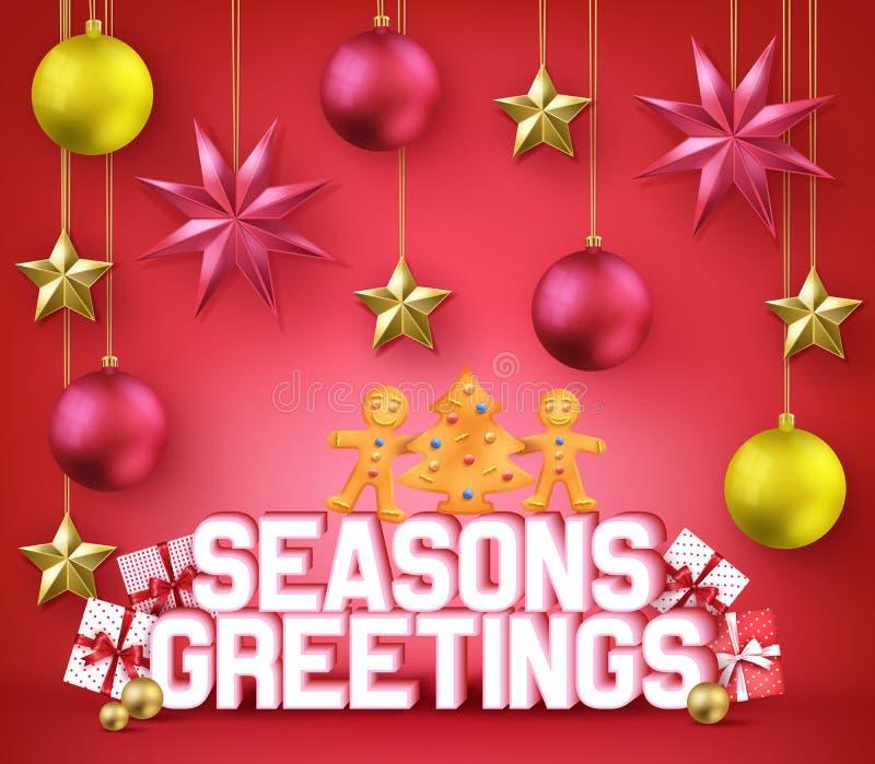 Jahreszeiten, die dekoratives Plakat der Typografie-3D für Weihnachtsfeiertag grüßen stock abbildung