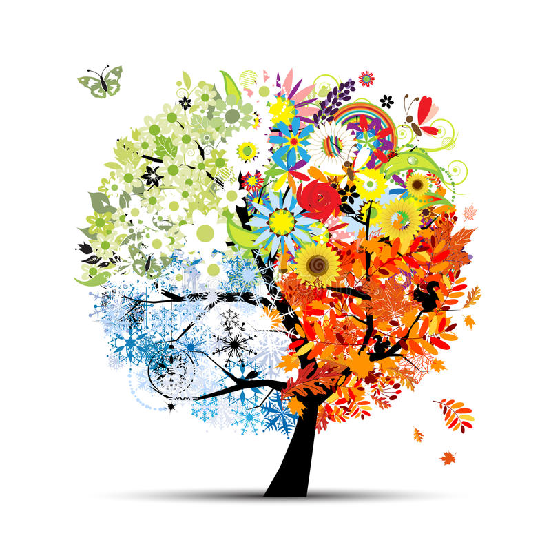 Jahreszeiten - Frühling, Sommer, Herbst, Winter. Kunstbaum vektor abbildung