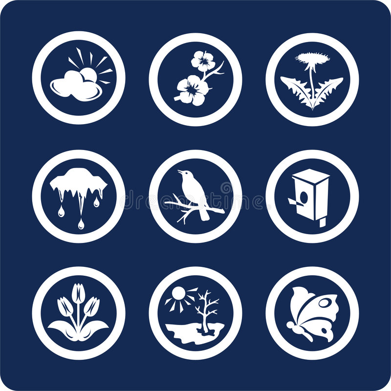 Jahreszeiten: Frühlingsikonen (stellen Sie 3, Teil 2) ein lizenzfreie abbildung