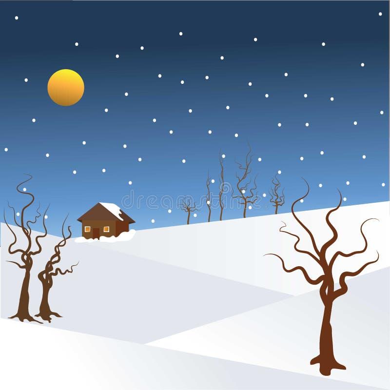 Jahreszeiten - Winternacht-illustartion mit fallendem Schnee stock abbildung