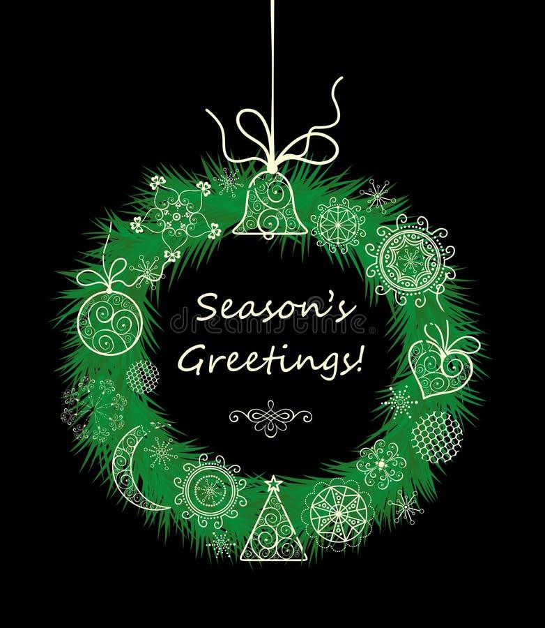 Jahreszeitgrüße mit Weihnachten, das dekorativen Kranz hängt lizenzfreie abbildung