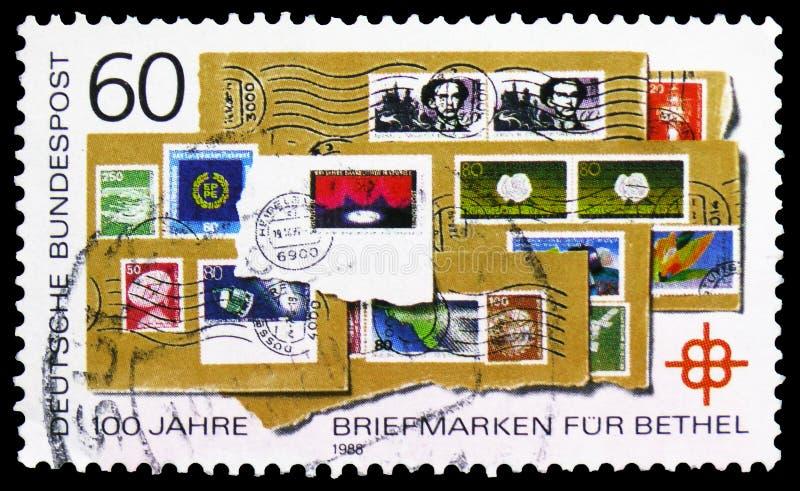 Jahrhundert der Sammlung der Briefmarken f?r Kirche, Bethel Charity-serie, circa 1988 stockfotos