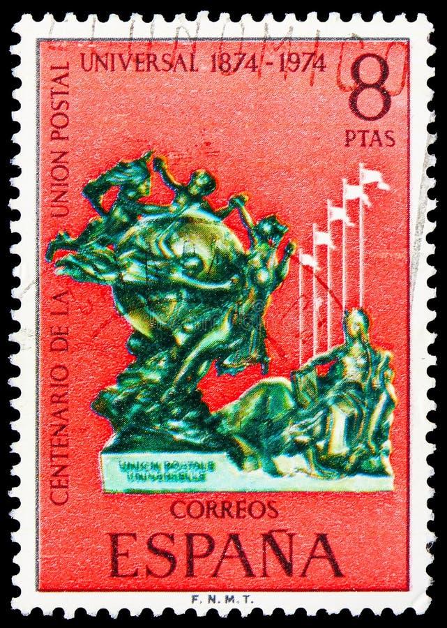 Jahrhundert des Weltpostvereins, U P U (Weltpostverein), 7. Kongreß, Madrid-serie, circa 1974 stockfotografie
