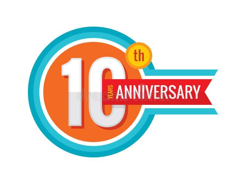 10. Jahrjahrestag des kreativen Emblems Logo-Ausweisgestaltungselement mit fünf Schablonen Abstrakte geometrische Fahne auf weiße vektor abbildung