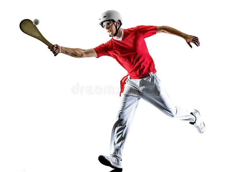 Jai Alai pelota Cesta Punta Pala gracza Baskijski mężczyzna odizolowywał sylwetkę zdjęcia royalty free
