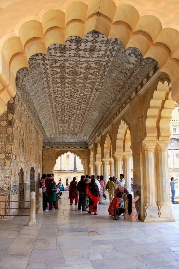 Jai Mandir琥珀色的堡垒的,拉贾斯坦,印度镜子宫殿 图库摄影