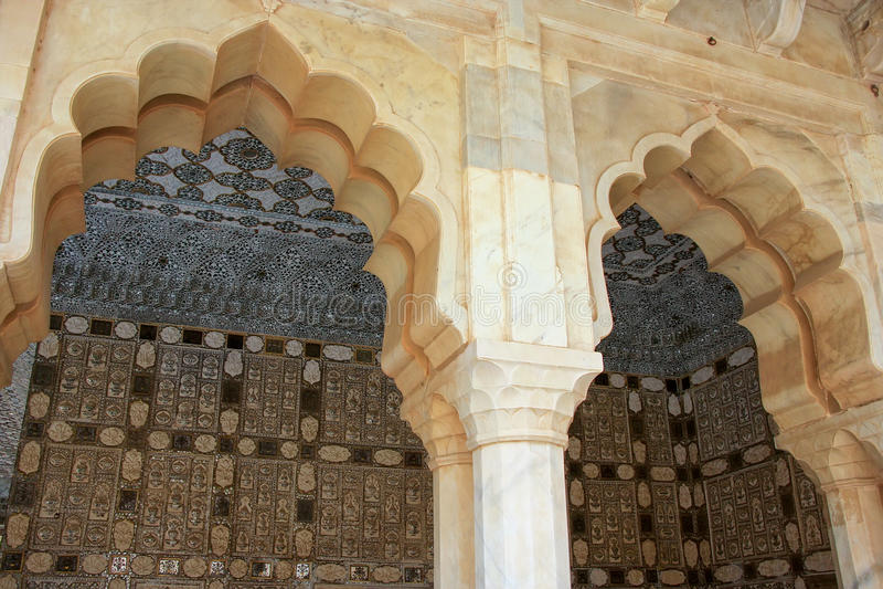 Jai Mandir Mirror Palace in Amber Fort, Rajasthan, India stock foto's
