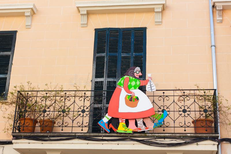 Jaia Corema,Lent的一个传统标志在一个房子的门面的马略卡在埃斯波尔莱斯 库存图片
