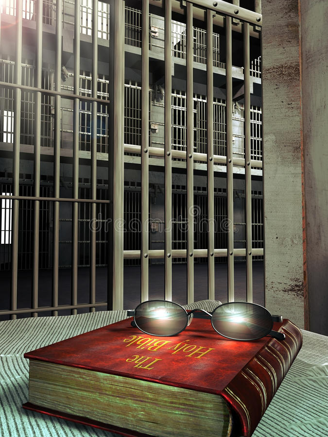 Jail and Bible. Interior of a prison cell. On the bed, close to the corridor, the holy Bible and glasses above stock illustration