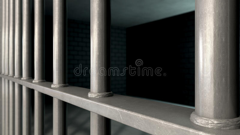 Jail Cell Bars Closeup. A closeup of a jail cells iron bars royalty free stock photo