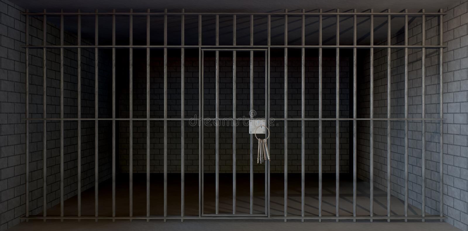 Jail Cell Full View With Keys vector illustration