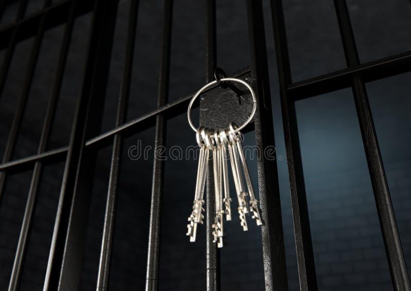 Jail Cell Door Locked Front Stock Illustration - Illustration of
