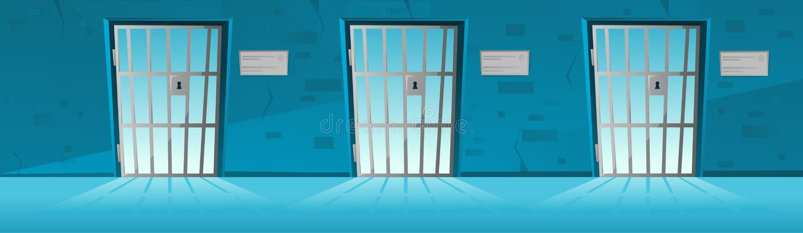 Jail corridor with Grid door in cartoon style.Hallway prison cell interior with lattice. Cartoon vector stock illustration