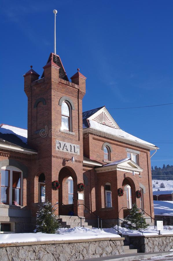 Historic Buildings Philipsburg Montana. Jail and sheriff`s office, Historic Building in Philipsburg Montana just of scenic Highway One stock images