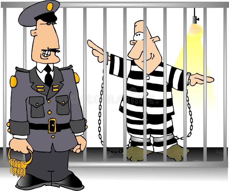 Jailbird et dispositif protecteur illustration stock