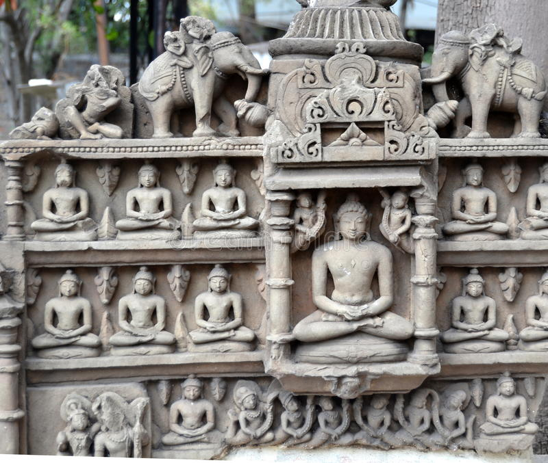 Ancient Jain Deity Central India. Ancient Stone Carvings of Central India depicting Jain Deities. Most of these sculptures belongs to 8 to 12 Century AD stock images