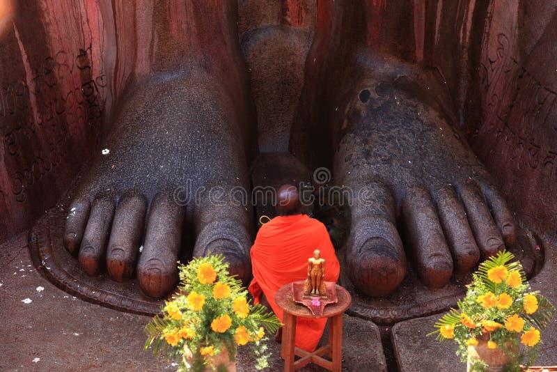 Jain munkar deltar i 'den Mahamastakabhisheka 'ceremonin arkivbilder