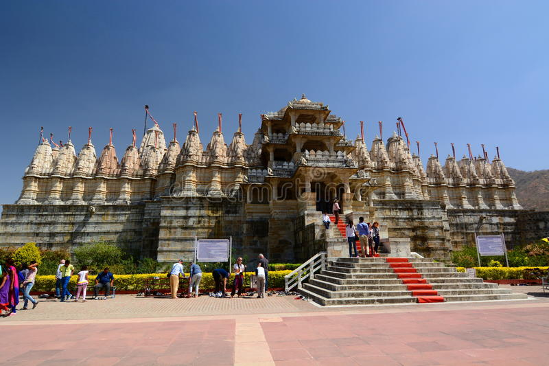 Jain temple. Ranakpur. Rajasthan. India. Ranakpur is a village located between Jodhpur and Udaipur, in the Pali district of Rajasthan in western India. Ranakpur royalty free stock image