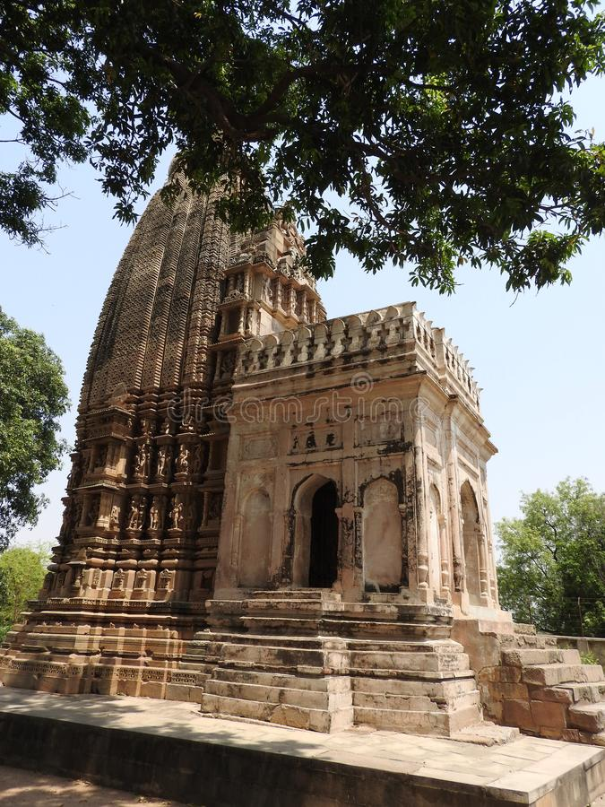 Jaintempels van liefde en geslachtsthema's in Khajuraho Oostelijke groep Khajuraho-tempels, Madhya Pradesh, India, Unesco-erfenis stock fotografie