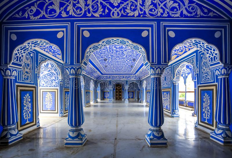 Jaipur City Palace, Rajasthan, India. Shri Niwas or the Blue Hall entrance, situated on the 6th floor of Chandra Mahal Palace, the residence of the former royal royalty free stock photo