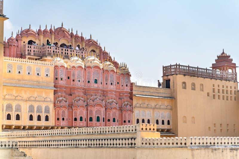 Jaipur/India-27 02 2019: Hawa Mahal - palácio em Jaipur fotografia de stock royalty free