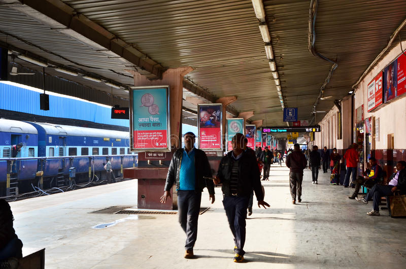 Jaipur, India - January 3, 2015: A passenger train arriving at a station of Jaipur. Rajasthan, India. Indian Railways carries about 7,500 million passengers stock photo
