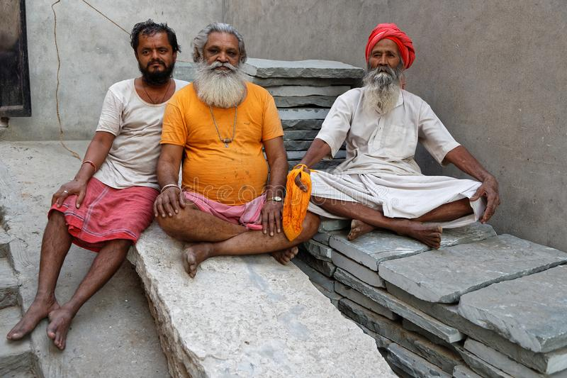 Portrait of three Sadhus in a Jaipur Ashram. JAIPUR, INDIA, October 27, 2017 : Portrait of Sadhus. A sadhu is a religious ascetic, mendicant or any holy person stock photography