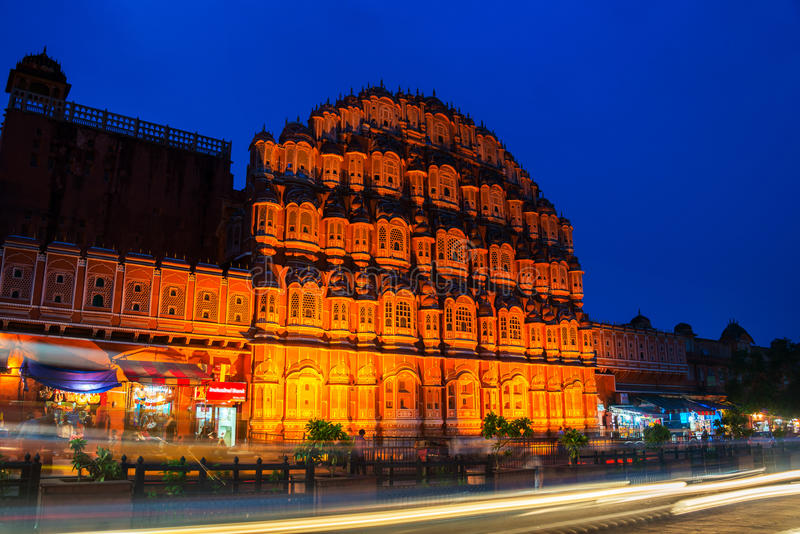 Jaipur, la India Palacio iluminado de los vientos Hawa Mahal foto de archivo libre de regalías