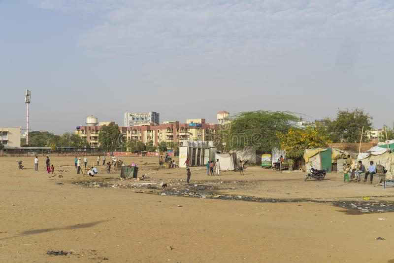 Slum area in Jaipur India. Jaipur, Rajasthan / India - 03 24 2019, Slum area in the city, Poor people living in cabins and tents stock image