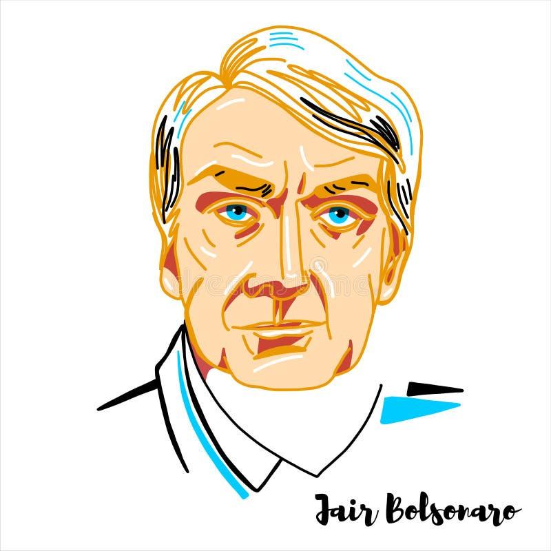 Jair Bolsonaro Portrait vektor illustrationer