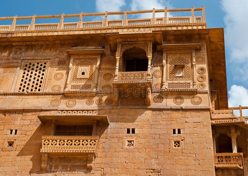 Jaisalmer堡垒的住宅房子, Jaisalmer,印度 免版税库存照片