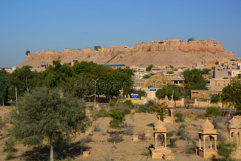 Jaisalmer fort. Rajasthan. India. Jaisalmer, nicknamed The Golden city, is a city in the Indian state of Rajasthan. The town stands on a ridge of yellowish royalty free stock photo